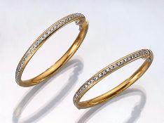 Paar 18 kt Gold Ohrcreolen mit Brillanten, GG 750/000, Brillanten zus. ca. 0.80 ct Weiß/ vvs-vs,