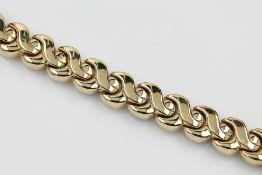 14 kt Gold Armband, GG/WG 585/000, ca. 29.3g, eine Seite GG, eine Seite GG/WG, L. ca. 19 cm14 kt