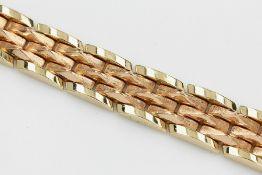 Armband, GG/WG 585/000, ca. 43.0 g, L. ca. 19 cm, Kastenschloß mit 2 Sicherheitsachten14 kt gold