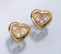 """Paar 18 kt Gold CHOPARD Ohrstecker """"Happy Diamonds"""", GG 750/000, je 3 Brillanten zus.ca. 0.18 ct"""