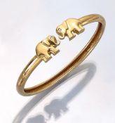18 kt Gold WEMPE Armreif mit Brillanten, GG 750/000, 2 Elefanten asym. gearbeitet, Augen bes. mit