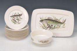 Fischservice, Villeroy & Boch, 20.Jh., Dekor mit verschiedenen Süßwasserfischen (Karpfen, Hecht u.