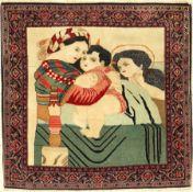 Feiner Keschan-Dabir alt (Maria & Jesus), Persien, um 1920, Korkwolle, ca. 90 x 92 cm, EHZ: 2-3.
