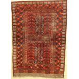 Ersari Engsi antik, Turkmenistan, 19.Jhd., Wolle auf Wolle, ca. 200 x 140 cm, Alters und