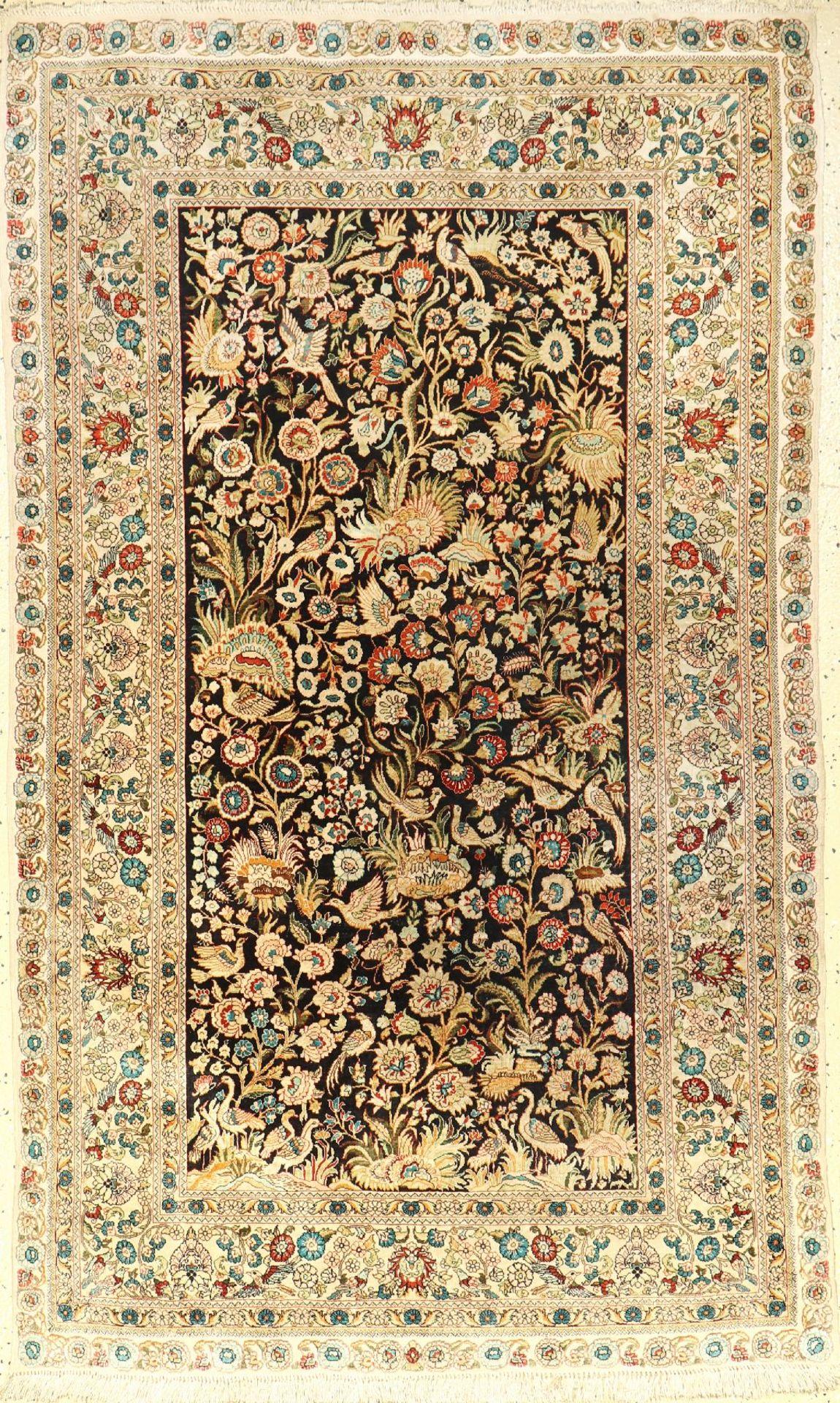 Seiden Hereke fein, China, ca. 30 Jahre, reine Naturseide, ca. 155 x 92 cm, sehr fein, EHZ: 3Very