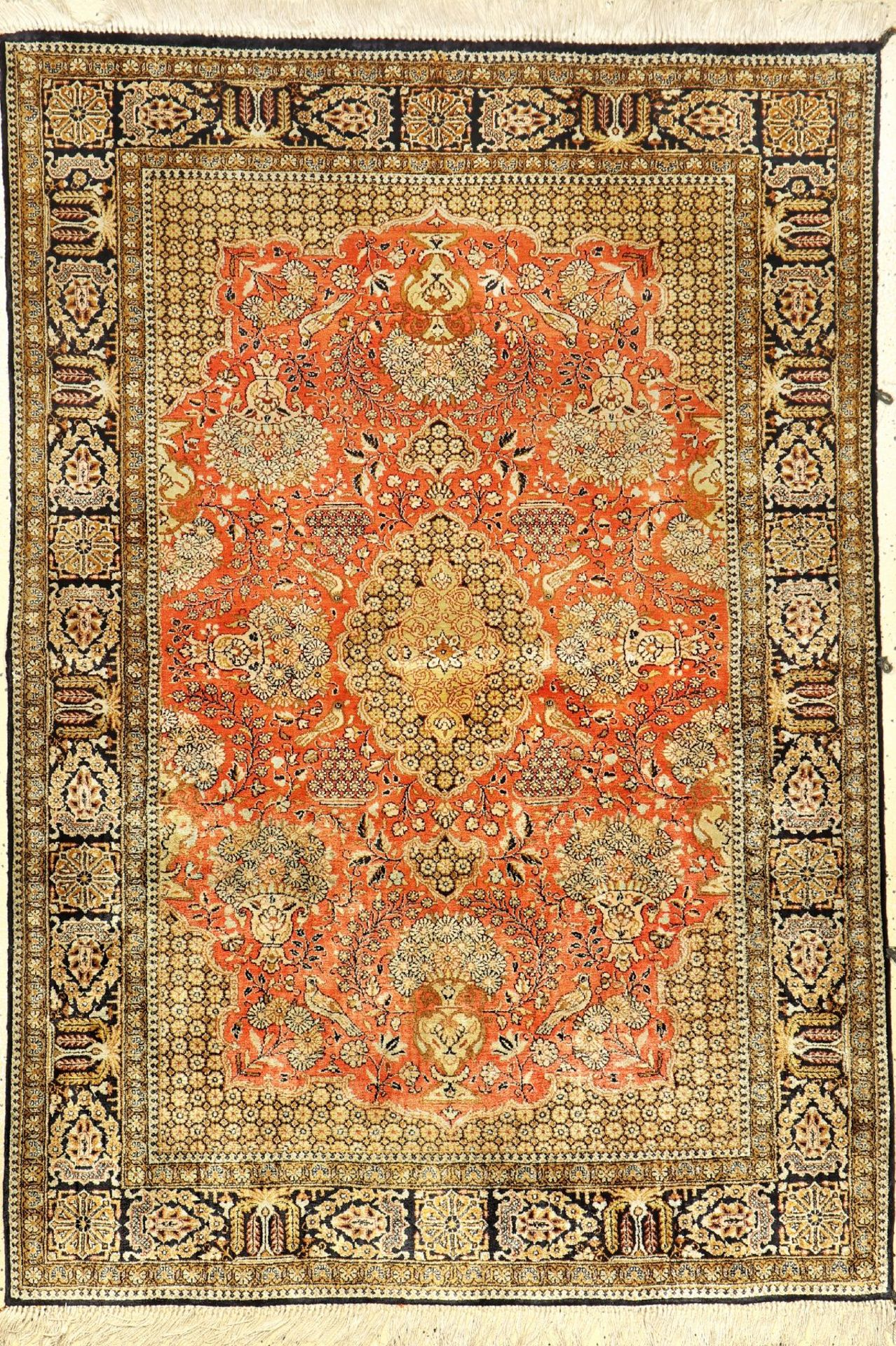 Seiden Ghom alt, Persien, ca. 50 Jahre, reine Naturseide, ca. 155 x 108 cm, EHZ: 2Silk Qum Rug,