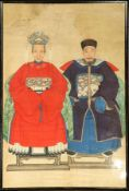 "Ahnenbilder alt, China, um 1930-1950, Malerei, ca. 124 x 84 cm, (Altersspuren)Chinese ""Paintings"","