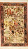 """Sehr feiner Seiden Hereke """"12 x 12 Knüpfung"""" (Königin von Ethiopen), China, ca. 30 Jahre alt,"""