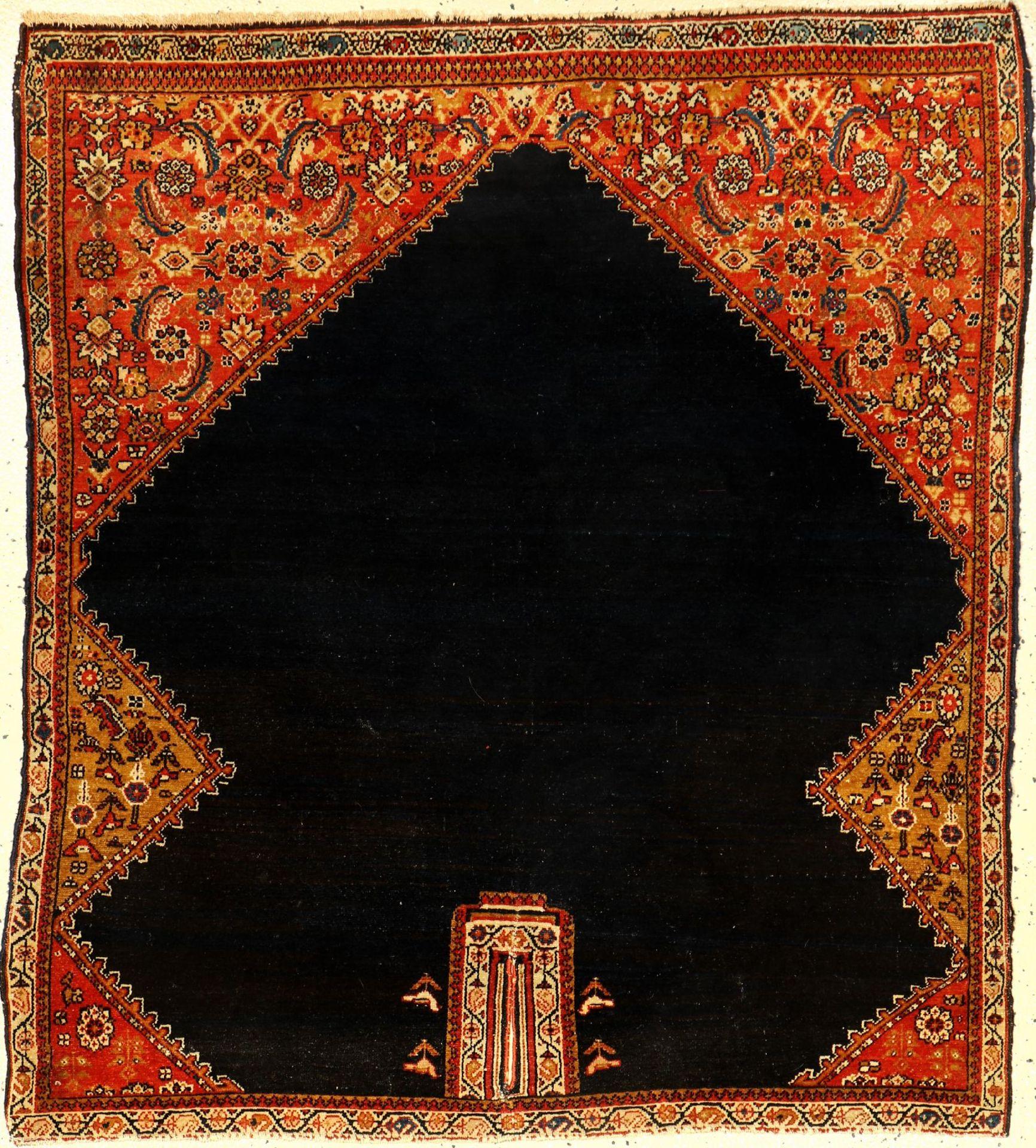 Feiner Malayer Sattel antik, Persien, Ende 19.Jhd., Wolle auf Baumwolle, ca. 116 x 102 cm, EHZ: 2-
