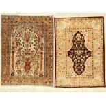 (2 Lots) Seiden Hereke alt, Türkei, ca. 40 Jahre, reine Naturseide, EHZ: 3(2 Lots) Silk Hereke Rugs,