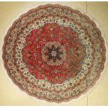 Täbriz (Rund), Persien, ca. 40 Jahre, Korkwolle mit Seide, ca. 254 cm, EHZ: 2-3(verblasst)Fine