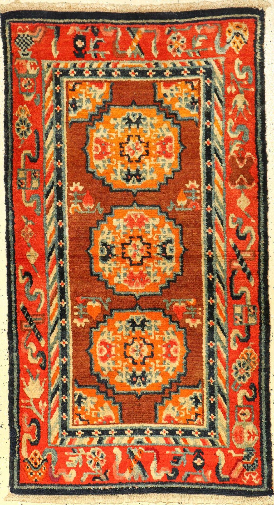 """Meditationsteppich antik, Tibet, um 1900, Wolle auf Baumwolle, ca. 137 x 75 cm, EHZ: 2-3Tibetan """""""