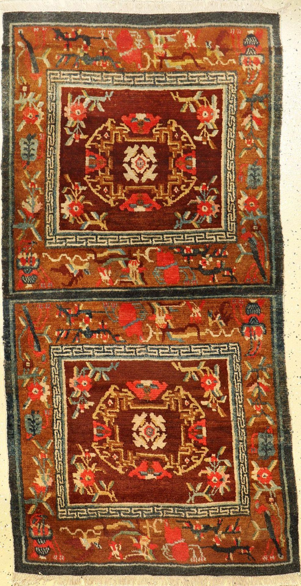 """Sitzbankteppich alt, Tibet, um 1920, Wolle auf Baumwolle, ca. 162 x 83 cm, EHZ: 2-3Tibetan """"Seat"""