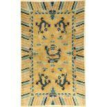 China Drachenteppich fein, China, Drachen, um 1950/1960, Wolle auf Baumwolle, ca. 154 x 95 cm,
