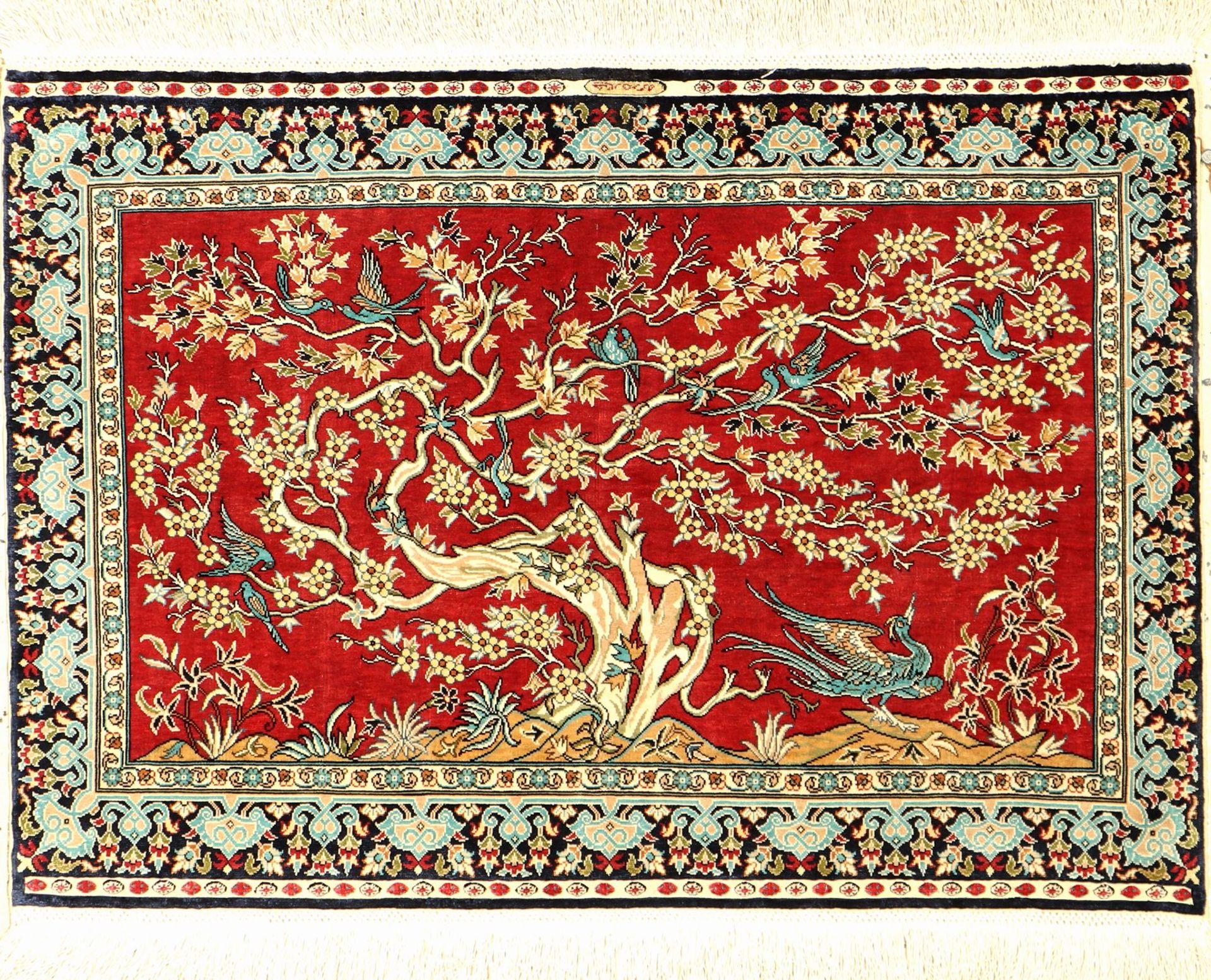 Hereke fein Signiert (Cinar), Türkei, ca. 30 Jahre, reine Naturseide, ca. 75 x 51 cm, EHZ: 2Fine
