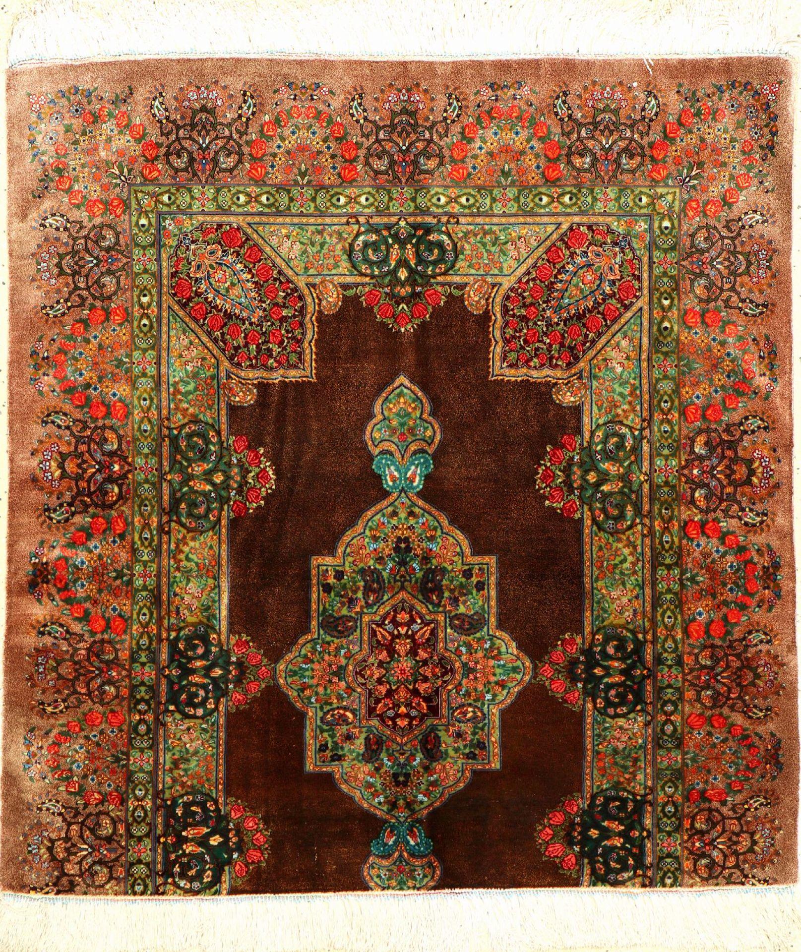 Sehr feiner Seiden Ghom (Wagireh), Persien, ca. 15 Jahre alt, reine Naturseide, ca. 103 x 96 cm,