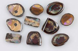 Konvolut 4 Yowah-Nuss Opal Paare, best. aus: 1 x zus. ca. 50.50 ct, ca. 25.5 x 17.9 x 8.4 mm, 1 x