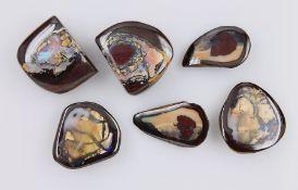 Konvolut 3 Yowah-Nuss Opal Paare, best. aus: 1 x zus. ca. 59.5 ct, ca. 31.8 x 19.3 x 8.2 mm, 1 x