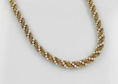 18 kt Gold Collier mit Zuchtperlen, GG 750/000, in sich gedrehte GG Kordel, mit umlaufendem