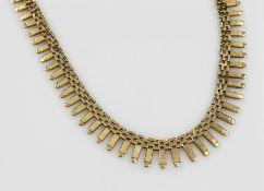 18 kt Gold Collier, GG 750/000, total ca. 45.2 g, L. ca. 43 cm, Kastenschloss mit