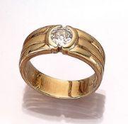 14 kt Gold Herrenring mit Diamant, GG 585/000, Altschliff-Diamant ca. 1.25 ct (grav.) Weiß/vs,