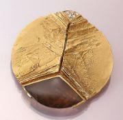 14 kt Gold Designer Brosche mit Diamanten und Rauchquarz, GG 585/000, ausgefallenes Design, z.T.