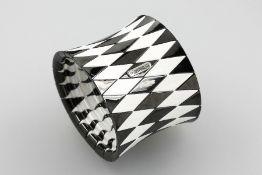 ROBERTO DEMEGLIO Armreif, schwarz/weißes Keramik, 1 Diamant ca. 0.01 ct, Zugband, D ca. 6.2 cm, B