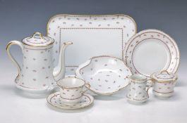 Kaffeeservice, Limoges, Dekor Gilda, 2. H. 20. Jh., dünnwandiges reliefiertes Porzellan, feiner