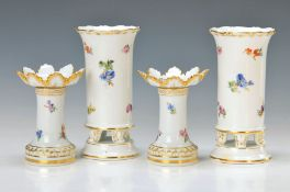 Zwei Vasen und zwei Kerzenleuchter, Meissen, Leuchter um 1924-33 und Vasen 2. H. 20. Jh.,