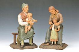 Paar Figuren, Goldscheider, um 1900, Großvater und Großmutter mit Enkelkindern, Großvatergruppe an