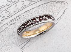 18 kt Gold WELLENDORFF Ring mit Email und Brillant, WG 750/000, aus der Serie Fantasie, Modell