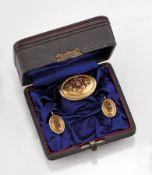 14 kt Gold Schmuckset: Brosche und Paar Ohrgehänge, GG 585/000 gepr., Österreich um 1860,
