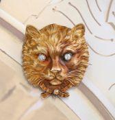 """18 kt Gold Brosche """"Katze"""" mit Diamanten, um 1900, GG 750/000, Darstellung eines Katzenkopfes mit"""