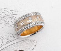 Breiter 18 kt Gold WELLENDORFF Ring mit Brillanten und Email, WG/GG 750/000, ModellSeidenblüte,