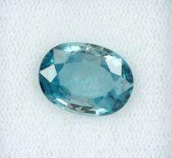 Konvolut 3 lose Zirkone, 1 x rundfacett., ca. 4.35 ct, 1 x ovalfacett.,ca. 5.0 ct, blau, 1 x 4.71