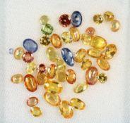 Lot lose Saphire, total ca. 13.3 ct, versch.Formen und Farben, überwiegend in Gelb und Braun