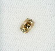 Loser Diamant, 0.49 ct Natural fancy intense orangy yellow/vs2, Kissenschliff, 5.46 x 3.67 x 3.23