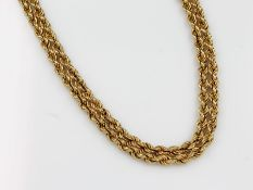 18 kt Gold überlanges Kordelcollier, ca. 82.2 g, GG 750/000, L. ca. 192 cm, Designerschließe18 kt