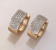 Paar 14 kt Gold Ohrstecker mit Brillanten, GG/WG 585/000, Brillanten zus. ca. 1.20 ct feines Weiß-