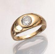 14 kt Gold Ring mit Brillant, GG 585/000, Brillant ca. 1.20 ct l.get.Weiß/p1, RW 62, total ca. 6.7