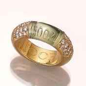 Massiver 18 kt Gold JOOP Ring mit Brillanten, GG 750/000, geschliffenes grünes Glas mit Logo,