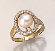 18 kt Gold Ring mit Akoyazuchtperle und Brillanten, GG 750/000, mittig feine Akoyazuchtperle mit