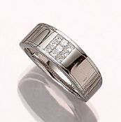 14 kt Gold Ring mit Diamanten, WG 585/000, 9 Diamanten im Princess Cut zus. ca. 0.33 ct (grav.)