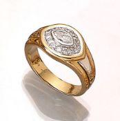 18 kt Gold Ring mit Diamanten, WG/GG 750/000, Diamantnavette ca. 0.28 ct, umgeben von 14