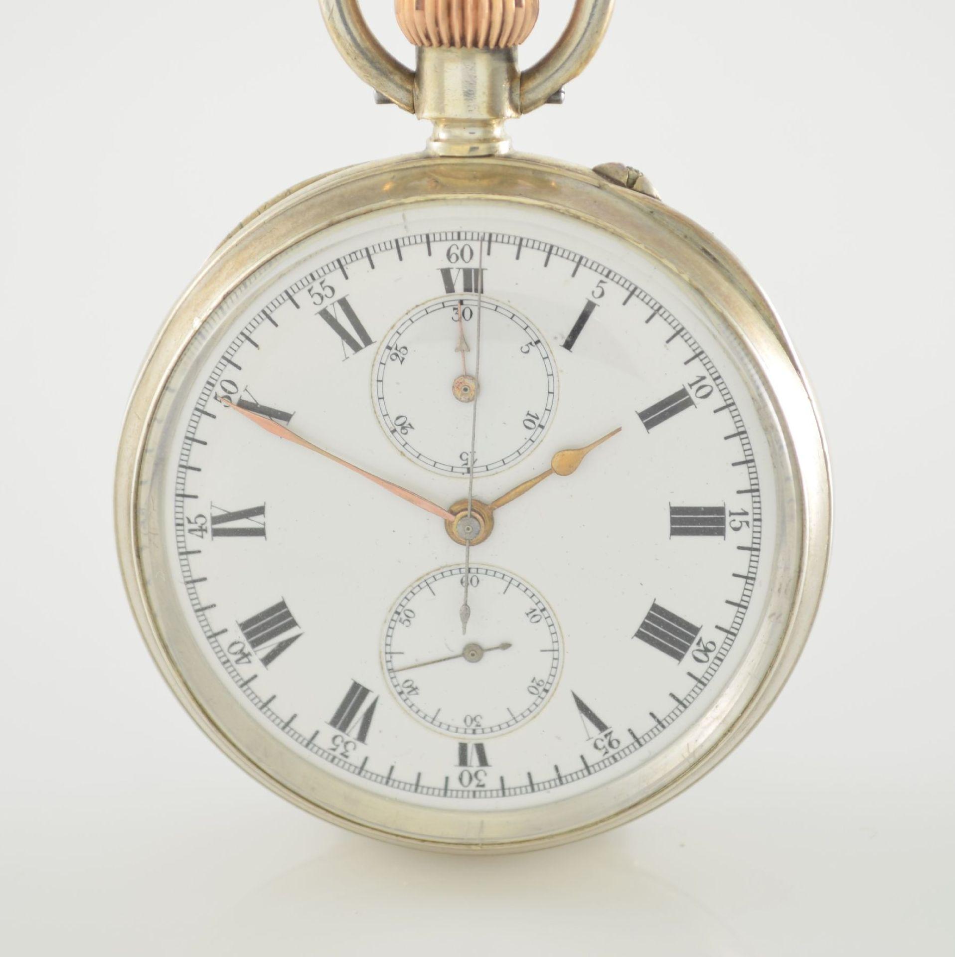 LONGINES offene Silbertaschenuhr mit Chronograph, Schweiz lt. Hallmark 1913, glattes Geh. m. - Bild 2 aus 7
