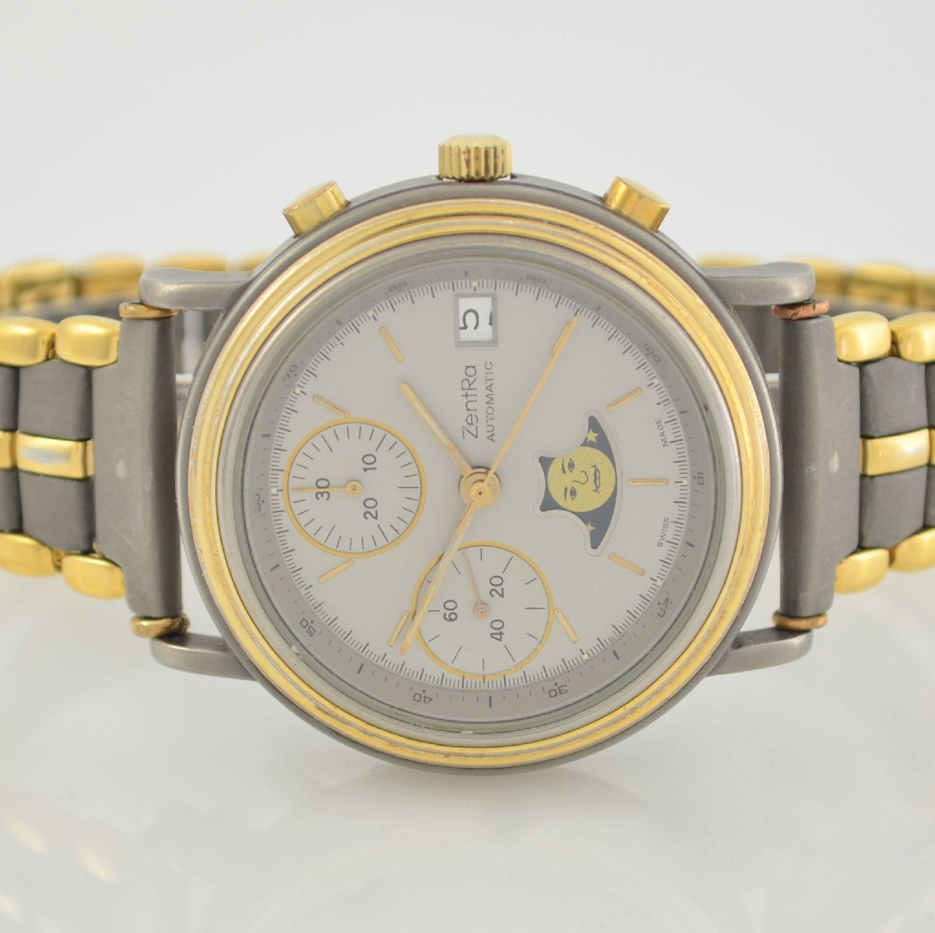 ZENTRA Herrenarmbanduhr Armbandchronograph, Automatik, Schweiz um 1987, Titangeh. inkl. - Bild 2 aus 6