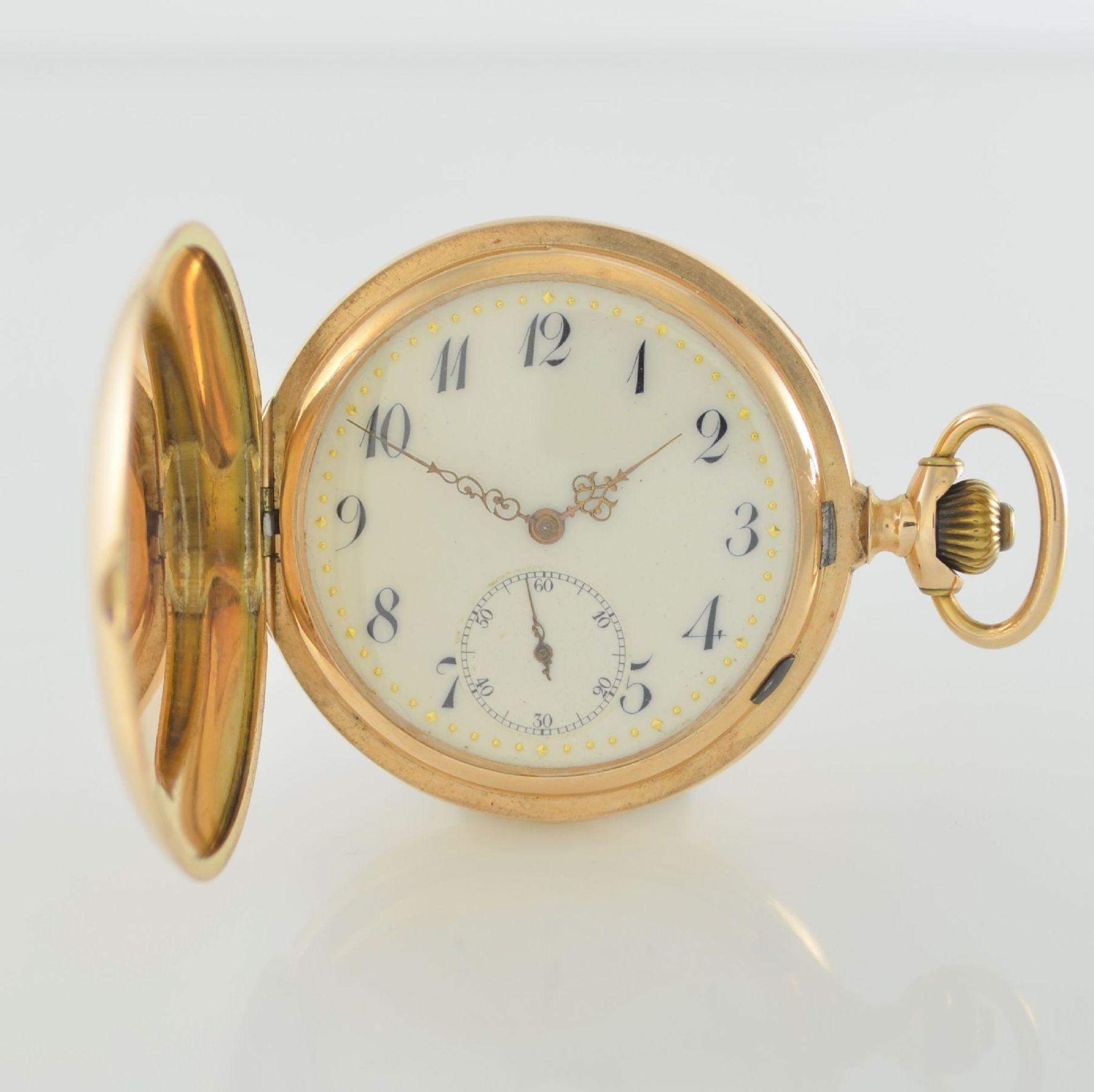 Herrensavonette in RG 585/000, Schweiz um 1900, guill. 3-Deckel-Goldgeh. dell. m. à- goutte-