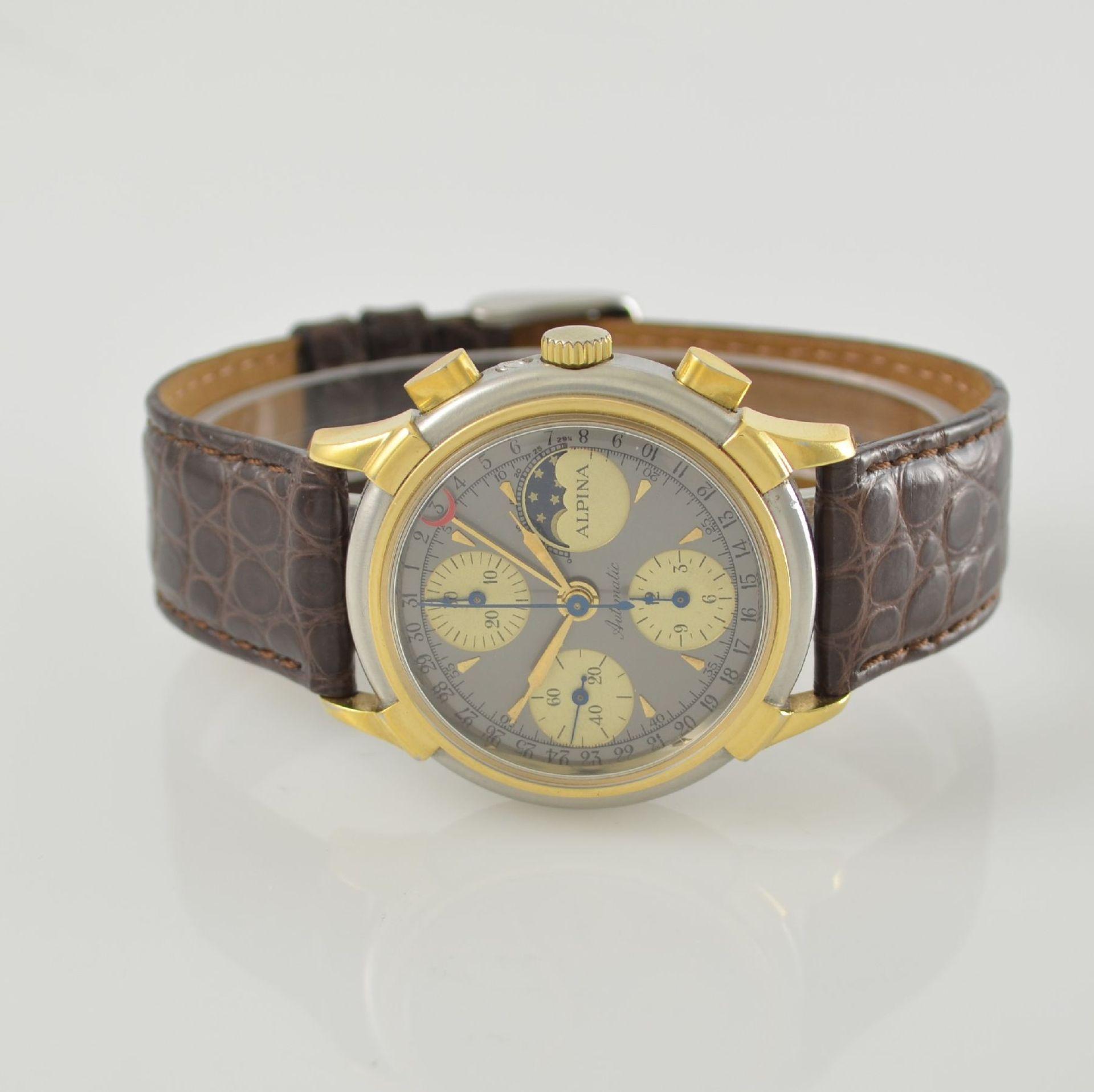 ALPINA Armbandchronograph mit Mondphase & Datum, Schweiz um 1990, Gehäuse in Edelstahl/Gold, Boden