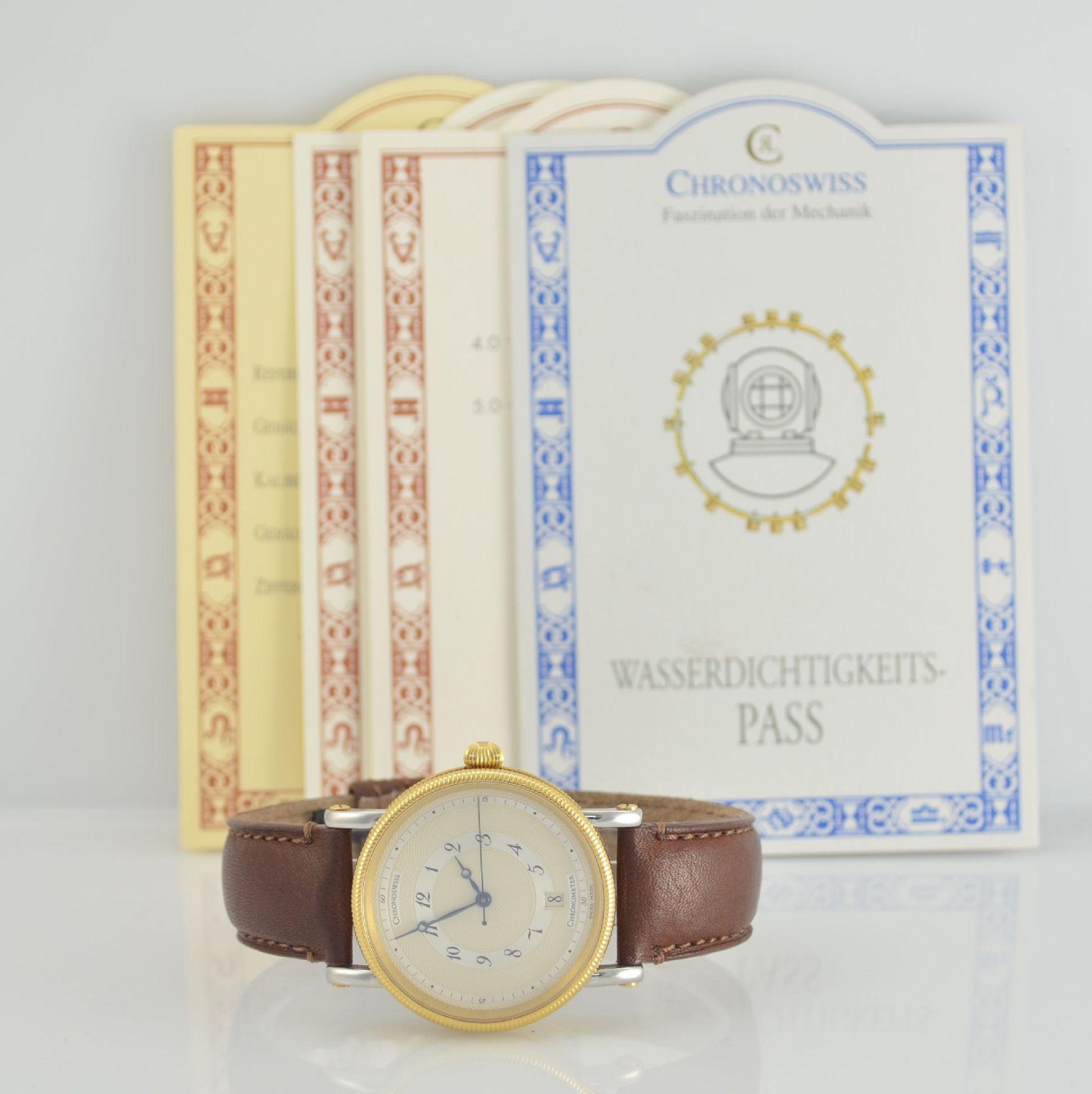 CHRONOSWISS Chronometer Herrenarmbanduhr, Automatik, Ref. CH 2822, Edelstahl/Gold kombiniert inkl. - Bild 7 aus 7