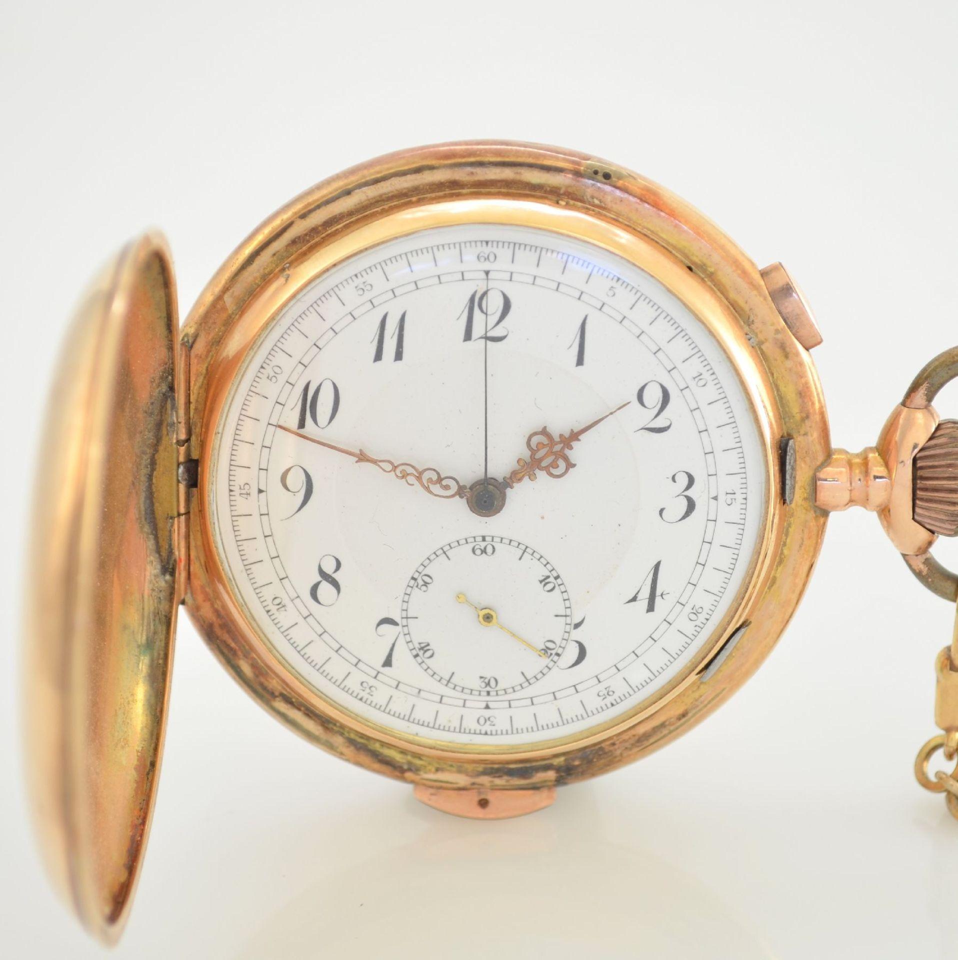 Savonette Herrentaschenuhr in RoseG 585/000 mit 1/4 Stunden Repetition und Chronograph, Schweiz um - Bild 2 aus 9